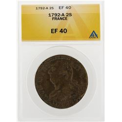 1792-A 2 Sols France Coin ANACS EF40