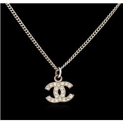 Authentic Chanel Rhinestone Logo Necklace