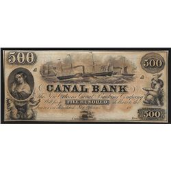 1800's $500 Canal Bank of New Orleans Obsolete Bank Note