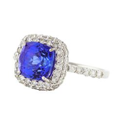 14KT White Gold 2.99ct Tanzanite and Diamond Ring