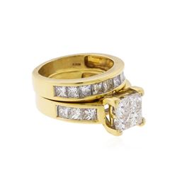 14KT Yellow Gold 4.00ctw Diamond Wedding Ring and Band