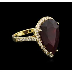 14KT Yellow Gold 13.98ct Ruby and Diamond Ring
