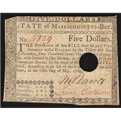 1780 Five Dollars State of Massachusetts-Bay Colonial Note
