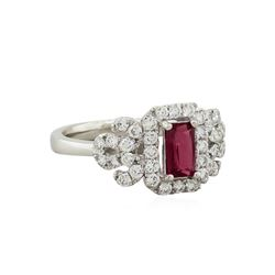 Platinum 0.64ct Unheated Ruby and Diamond Ring GIA Appraised