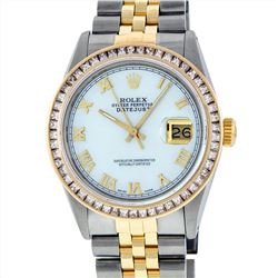 Rolex Mens Two Tone 14KT Yellow Gold 2.75ctw Diamond Datejust Wristwatch