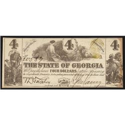 1864 $4 The State of Georgia Obsolete Bank Note