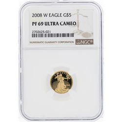 2008-W $5 American Gold Eagle Coin NGC PF69 Ultra Cameo