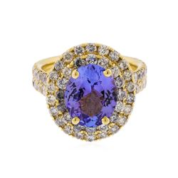 14K Yellow Gold 3.59ct Tanzanite and Diamond Ring