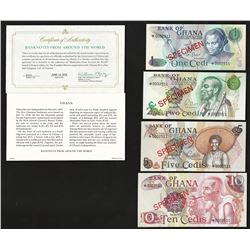 Set of (4) Bank of Ghana Specimen Bank Notes