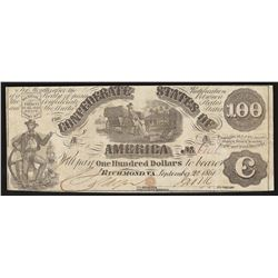 1861 $100 The Confederate States of America Note T-13