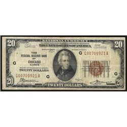 1929 $20 Federal Reserve Bank of Chicago Note