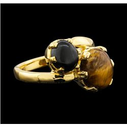 18KT Yellow Gold 5.48ctw Tigers Eye Cabochon and Black Coral Ring