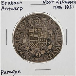 1598-1621 Brabant Antwerp Patagon Silver Coin