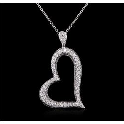 14KT White Gold 1.25ctw Diamond Heart Pendant With Chain