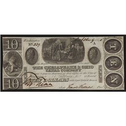 1840 $10 The Chesapeake & Ohio Canal Company Obsolete Bank Note
