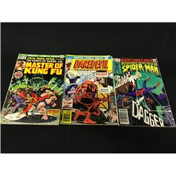 LOT OF 3 MARVEL BRONZE AGE 1ST APPEARANCE KEYS, 1973-1982.  INCLUDES: DAREDEVIL #131 (1ST APP. OF