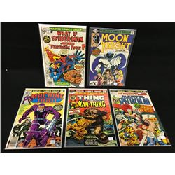 LOT OF 5 MARVEL BRONZE AGE #1 EDITIONS, 1973-1980.  INCLUDES: MACHINE MAN #1, MARVEL TWO-IN-ONE #1,
