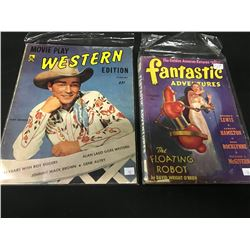 2 VINTAGE PULP FICTION MAGAZINES FROM THE 1940'S INCLUDING: FANTASTIC ADVENTURES VOL. 3 #1 AND
