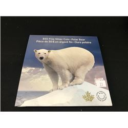 ROYAL CANADIAN MINT 2014 $50 FINE SILVER (99.99%) COIN IN FOLDER.  POLAR BEAR