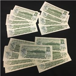 LOT OF VINTAGE CANADIAN ONE DOLLAR BANK NOTES INC. RUN OF 4 AND 5 CONSECUTIVELY NUBMERED BILLS