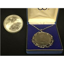 1976 MONTREAL SUMMER OLYMPICS $10 SILVER COIN, 1.44 TROY OUNCES OF .925 SILVER, AND $5 MONTREAL