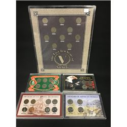 5 SETS OF AMERICAN COINS INC. 'LAST TEN YEARS OF V NICKELS', AMERICAN FRONTIER, 20TH CENTURY NICKEL