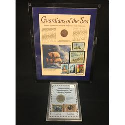 SILVER COLUMBUS COMMEMORATIVE HALF DOLLAR, AND 1808 GENUINE SHIPWRECK COIN RECOVERED FROM THE
