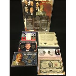 4 SETS OF AMERICAN PRESIDENTIAL COIN COLLECTIONS, AND 'THE MANY FACES OF JEFFERSON' COIN AND BILL