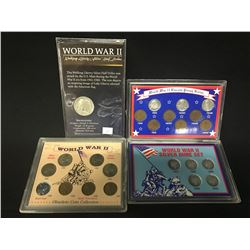 3 AMERICAN WWII COIN SETS, AND WWII WALKING LIBERTY SILVER HALF DOLLAR