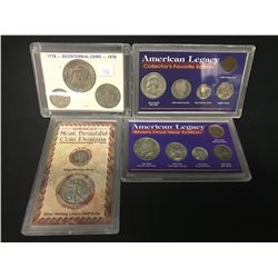 3 SETS OF COINS INC. 3 COIN USA BICENTENNIAL SET, 'MOST BEAUTIFUL COIN DESIGNS', AND 2X AMERICAN