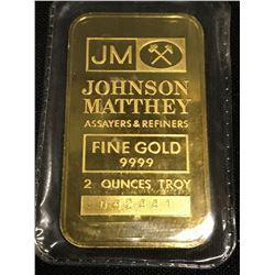 JOHNSON MATHEY TWO TROY OUNCE GOLD BAR, SERIAL NUMBER 042441 - .9999 FINE GOLD