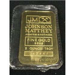 JOHNSON MATHEY TWO TROY OUNCE GOLD BAR, SERIAL NUMBER 042444 - .9999 FINE GOLD