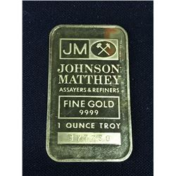 JOHNSON MATHEY ONE TROY OUNCE GOLD BAR, SERIAL NUMBER 37730 - .9999 FINE GOLD
