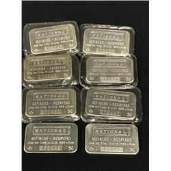 LOT OF 8 NATIONAL ONE TROY OUNCE SILVER BARS.  8 TOTAL .999 + FINE SILVER OUNCES.