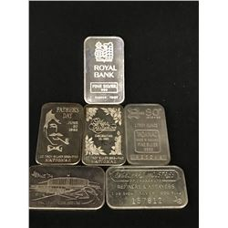 LOT OF 6 ONE TROY OUNCE SILVER BARS.  6 TOTAL .999 SILVER OUNCES.