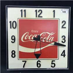 "LARGE COCA COLA VINTAGE WALL CLOCK, MEASURES 36"" X 36"".  SOME DAMAGE PRESENT"