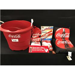 LARGE LOT OF COCA COLA MERABILIA INC.: LARGE BRANDED PLASTIC BIN, TWO CUSHIONS, INFLATABLE POOL