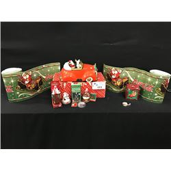 LARGE LOT OF COCA COLA CHRISTMAS MERABILIA INC.: LARGE CERAMIC COOKIE JAR, 2 ROLLED UP BANNERS,