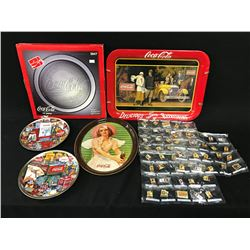LARGE LOT OF COCA COLA MERABILIA INC.: LICENSE PLATES, PLATTERS AND PINS