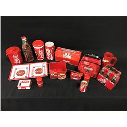 LARGE LOT OF COCA COLA MERABILIA INC.: TINS, CUPS AND OTHER MEMERABILIA