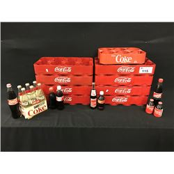 LARGE LOT OF COCA COLA MERABILIA INC.: 9 BOTTLE TRAYS AND ASSORTED FULL AND EMPTY VINTAGE BOTTLES