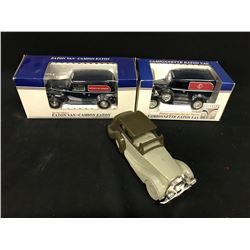 LOT OF THREE COLLECTABLE CARS INC. EATONS DELIVERY VAN, THE BAY DELIVER VAN AND AVON COLLECTOR