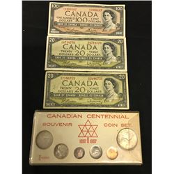 CANADIAN CURRENCY LOT INC. $100 BANK NOTE DATED 1954, 2 X $20 BANK NOTES DATED 1954 AND