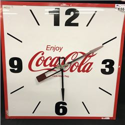 "LARGE COCA COLA WALL CLOCK, MEASURES 38"" X 38"""