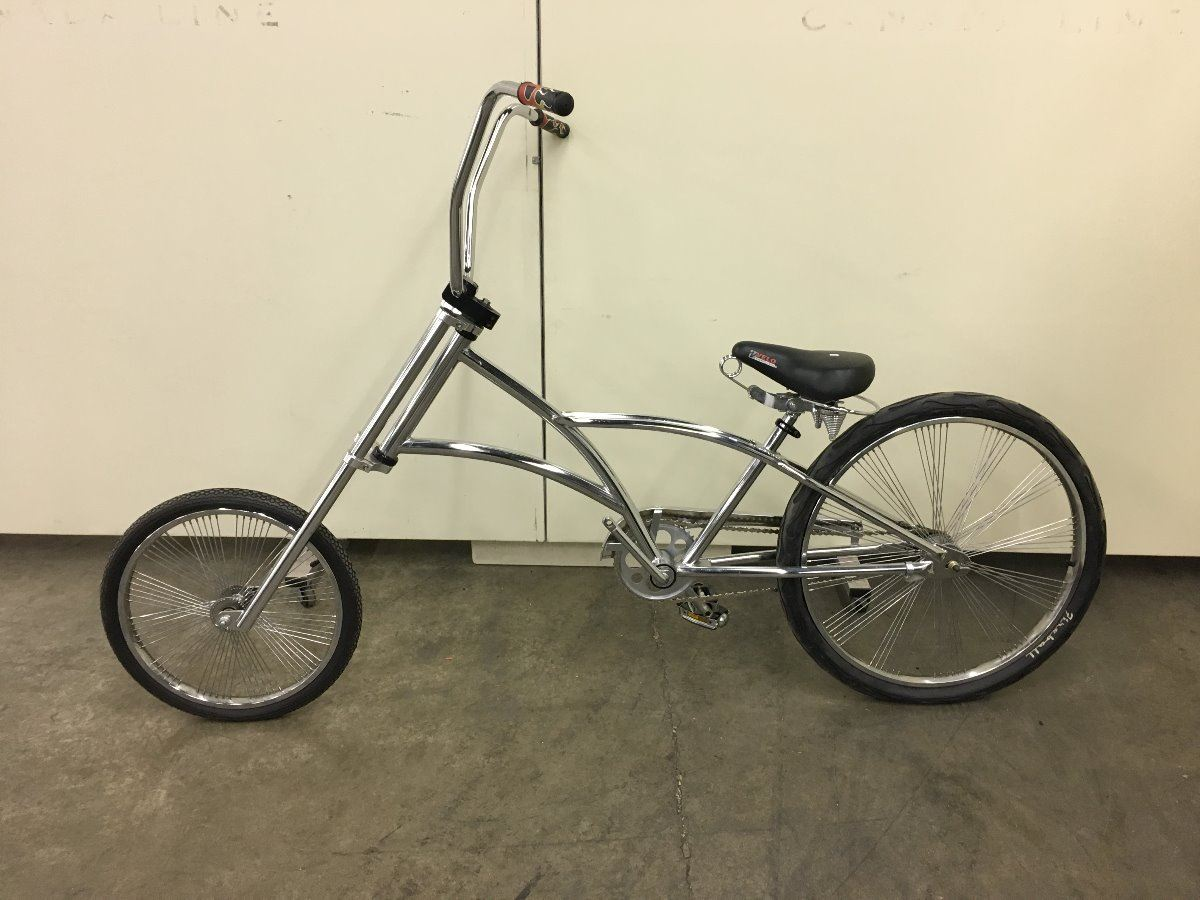 CHROME CUSTOM CRUISER BIKE WITH 72 SPOKE FAN WHEELS - Able Auctions