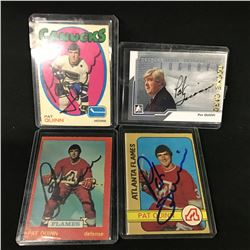 LOT OF 4 AUTOGRAPHED PAT QUINN COLLECTOR HOCKY CARDS