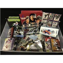 LARGE BIN OF ASSORTED HOCKEY CARDS, CARD SETS AND OTHER MEMORABILIA