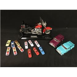 LOT OF COLLECTABLES INC. HARLEY DAVIDSON TELEPHONE, 2 1955 1:24 CHEVY STEPSIDE PICK UP TRUCKS AND