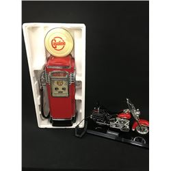 LOT OF COLLECTABLES INC. HARLEY DAVIDSON TELEPHONE, A GASOLINE AM/FM RADIO REPLICA GAS PUMP,