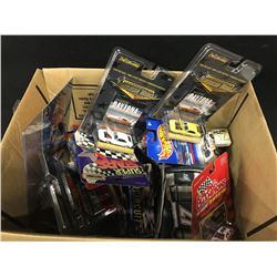 LARGE BOX LOT OF ASSORTED RACING COLLECTABLES